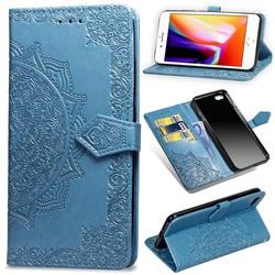 Embossing Imprint Mandala Flower Leather Wallet Case for iPhone 6s Plus / 6 Plus 6P(5.5 inch) - Blue