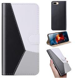 Tricolour Stitching Wallet Flip Cover for iPhone 6s Plus / 6 Plus 6P(5.5 inch) - Black
