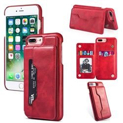Luxury Magnetic Double Buckle Leather Phone Case for iPhone 6s Plus / 6 Plus 6P(5.5 inch) - Red