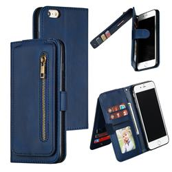 Multifunction 9 Cards Leather Zipper Wallet Phone Case for iPhone 6s Plus / 6 Plus 6P(5.5 inch) - Blue