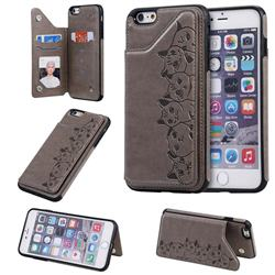 Yikatu Luxury Cute Cats Multifunction Magnetic Card Slots Stand Leather Back Cover for iPhone 6s Plus / 6 Plus 6P(5.5 inch) - Gray