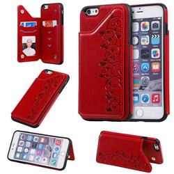 Yikatu Luxury Cute Cats Multifunction Magnetic Card Slots Stand Leather Back Cover for iPhone 6s Plus / 6 Plus 6P(5.5 inch) - Red