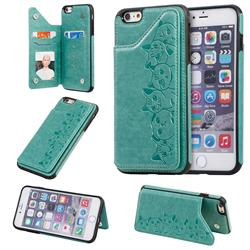 Yikatu Luxury Cute Cats Multifunction Magnetic Card Slots Stand Leather Back Cover for iPhone 6s Plus / 6 Plus 6P(5.5 inch) - Green