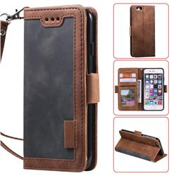 Luxury Retro Stitching Leather Wallet Phone Case for iPhone 6s Plus / 6 Plus 6P(5.5 inch) - Gray