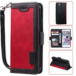 Luxury Retro Stitching Leather Wallet Phone Case for iPhone 6s Plus / 6 Plus 6P(5.5 inch) - Deep Red