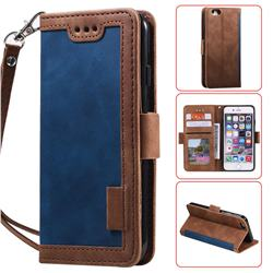 Luxury Retro Stitching Leather Wallet Phone Case for iPhone 6s Plus / 6 Plus 6P(5.5 inch) - Dark Blue