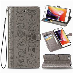 Embossing Dog Paw Kitten and Puppy Leather Wallet Case for iPhone 6s Plus / 6 Plus 6P(5.5 inch) - Gray