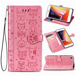 Embossing Dog Paw Kitten and Puppy Leather Wallet Case for iPhone 6s Plus / 6 Plus 6P(5.5 inch) - Pink