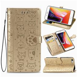 Embossing Dog Paw Kitten and Puppy Leather Wallet Case for iPhone 6s Plus / 6 Plus 6P(5.5 inch) - Champagne Gold