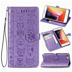 Embossing Dog Paw Kitten and Puppy Leather Wallet Case for iPhone 6s Plus / 6 Plus 6P(5.5 inch) - Purple