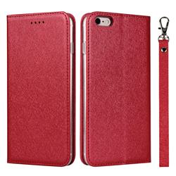 Ultra Slim Magnetic Automatic Suction Silk Lanyard Leather Flip Cover for iPhone 6s Plus / 6 Plus 6P(5.5 inch) - Red