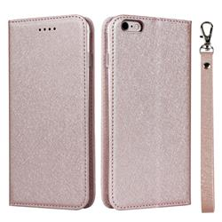 Ultra Slim Magnetic Automatic Suction Silk Lanyard Leather Flip Cover for iPhone 6s Plus / 6 Plus 6P(5.5 inch) - Rose Gold