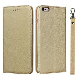 Ultra Slim Magnetic Automatic Suction Silk Lanyard Leather Flip Cover for iPhone 6s Plus / 6 Plus 6P(5.5 inch) - Golden