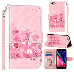 Pink Bear 3D Leather Phone Holster Wallet Case for iPhone 6s Plus / 6 Plus 6P(5.5 inch)