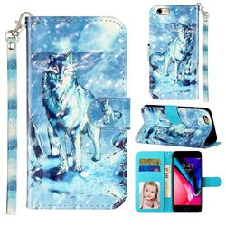 Snow Wolf 3D Leather Phone Holster Wallet Case for iPhone 6s Plus / 6 Plus 6P(5.5 inch)