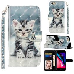 Kitten Cat 3D Leather Phone Holster Wallet Case for iPhone 6s Plus / 6 Plus 6P(5.5 inch)