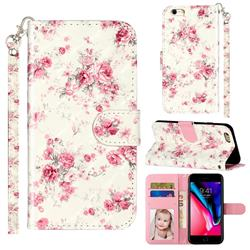 Rambler Rose Flower 3D Leather Phone Holster Wallet Case for iPhone 6s Plus / 6 Plus 6P(5.5 inch)