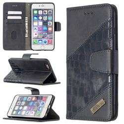 BinfenColor BF04 Color Block Stitching Crocodile Leather Case Cover for iPhone 6s Plus / 6 Plus 6P(5.5 inch) - Black