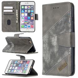 BinfenColor BF04 Color Block Stitching Crocodile Leather Case Cover for iPhone 6s Plus / 6 Plus 6P(5.5 inch) - Gray