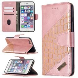 BinfenColor BF04 Color Block Stitching Crocodile Leather Case Cover for iPhone 6s Plus / 6 Plus 6P(5.5 inch) - Rose Gold