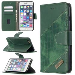 BinfenColor BF04 Color Block Stitching Crocodile Leather Case Cover for iPhone 6s Plus / 6 Plus 6P(5.5 inch) - Green