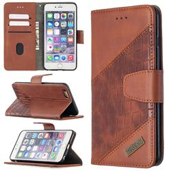 BinfenColor BF04 Color Block Stitching Crocodile Leather Case Cover for iPhone 6s Plus / 6 Plus 6P(5.5 inch) - Brown
