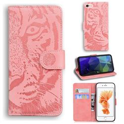 Intricate Embossing Tiger Face Leather Wallet Case for iPhone 6s Plus / 6 Plus 6P(5.5 inch) - Pink