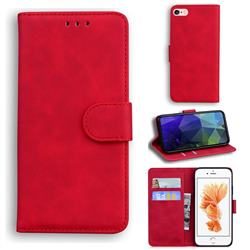 Retro Classic Skin Feel Leather Wallet Phone Case for iPhone 6s Plus / 6 Plus 6P(5.5 inch) - Red