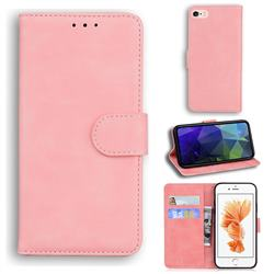 Retro Classic Skin Feel Leather Wallet Phone Case for iPhone 6s Plus / 6 Plus 6P(5.5 inch) - Pink