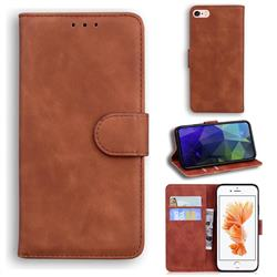 Retro Classic Skin Feel Leather Wallet Phone Case for iPhone 6s Plus / 6 Plus 6P(5.5 inch) - Brown