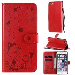 Embossing Bee and Cat Leather Wallet Case for iPhone 6s Plus / 6 Plus 6P(5.5 inch) - Red