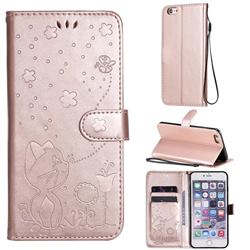 Embossing Bee and Cat Leather Wallet Case for iPhone 6s Plus / 6 Plus 6P(5.5 inch) - Rose Gold