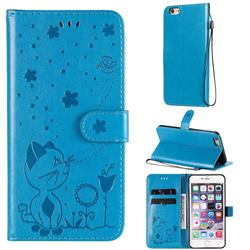 Embossing Bee and Cat Leather Wallet Case for iPhone 6s Plus / 6 Plus 6P(5.5 inch) - Blue