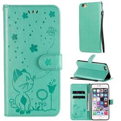 Embossing Bee and Cat Leather Wallet Case for iPhone 6s Plus / 6 Plus 6P(5.5 inch) - Green