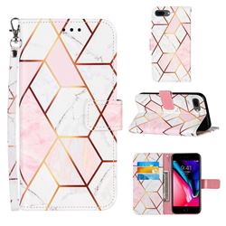 Pink White Stitching Color Marble Leather Wallet Case for iPhone 6s Plus / 6 Plus 6P(5.5 inch)