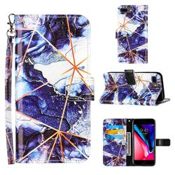 Starry Blue Stitching Color Marble Leather Wallet Case for iPhone 6s Plus / 6 Plus 6P(5.5 inch)