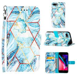 Lake Blue Stitching Color Marble Leather Wallet Case for iPhone 6s Plus / 6 Plus 6P(5.5 inch)