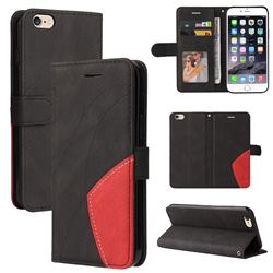 Luxury Two-color Stitching Leather Wallet Case Cover for iPhone 6s Plus / 6 Plus 6P(5.5 inch) - Black