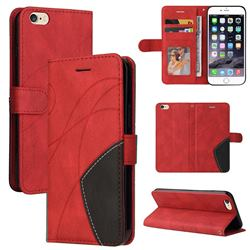 Luxury Two-color Stitching Leather Wallet Case Cover for iPhone 6s Plus / 6 Plus 6P(5.5 inch) - Red