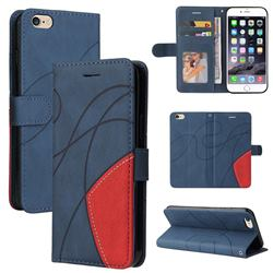 Luxury Two-color Stitching Leather Wallet Case Cover for iPhone 6s Plus / 6 Plus 6P(5.5 inch) - Blue