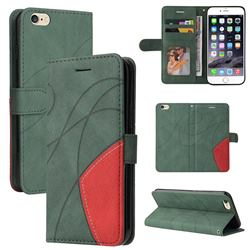 Luxury Two-color Stitching Leather Wallet Case Cover for iPhone 6s Plus / 6 Plus 6P(5.5 inch) - Green
