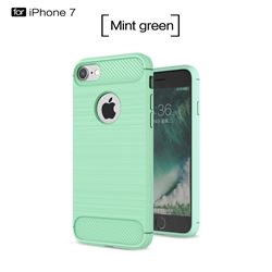 Luxury Carbon Fiber Brushed Wire Drawing Silicone TPU Back Cover for iPhone 8 / 7 8G 7G(4.7 inch) (Mint Green)