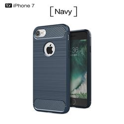 Luxury Carbon Fiber Brushed Wire Drawing Silicone TPU Back Cover for iPhone 8 / 7 8G 7G(4.7 inch) (Navy)