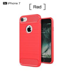 Luxury Carbon Fiber Brushed Wire Drawing Silicone TPU Back Cover for iPhone 8 / 7 8G 7G(4.7 inch) (Red)