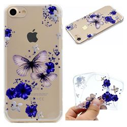 Blue Butterfly Flowers Super Clear Soft TPU Back Cover for iPhone 8 / 7 (4.7 inch)