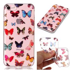 Colorful Butterfly Super Clear Soft TPU Back Cover for iPhone 8 / 7 (4.7 inch)