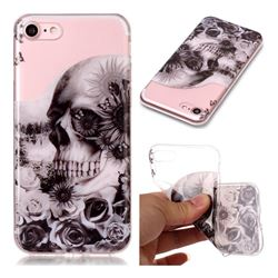Black Flower Skull Super Clear Soft TPU Back Cover for iPhone 8 / 7 (4.7 inch)