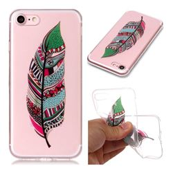 Green Feathers Super Clear Soft TPU Back Cover for iPhone 8 / 7 (4.7 inch)