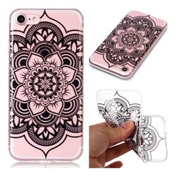 Black Mandala Flower Super Clear Soft TPU Back Cover for iPhone 8 / 7 (4.7 inch)