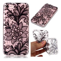 Black Rose Super Clear Soft TPU Back Cover for iPhone 8 / 7 (4.7 inch)
